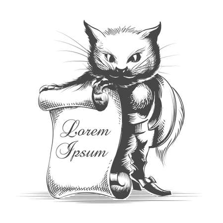 Puss in Boots with Empty Scroll  drawn in engraving style. Vector illustration. Ilustração