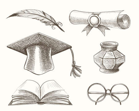 Graduation theme for Medieval high school or college graduation. Accessories drawn in engraving style. Vector Illustration.
