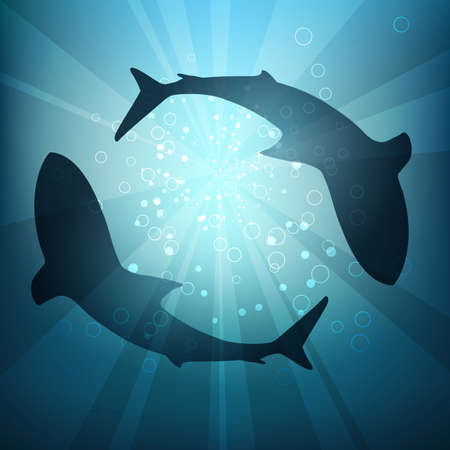Two big sharks are circling under the water illuminated by sunlight and rays. Vector Illustration Stockfoto - 126371134
