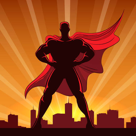Silhouette of a superhero in red cap standing on the edge of a building at sunset. Vector Illustration.