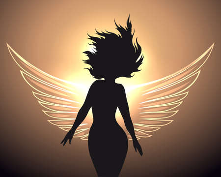Woman silhouettte with glowing angel wings. Vector Illustration. Ilustração