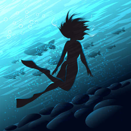 Diver Woman with flippers swims underwater. Vector illustration