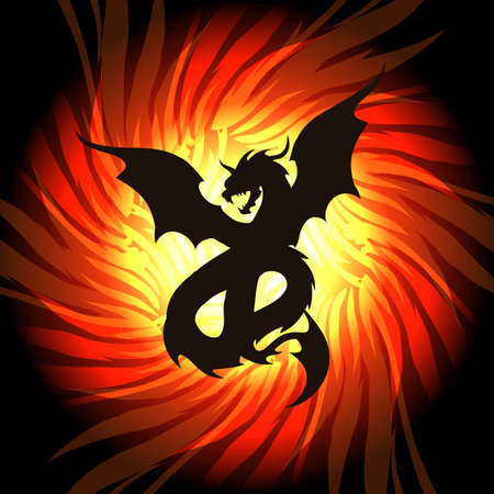 Silhouette of dragon on fire flame background. Vector illustration. Stock Illustratie
