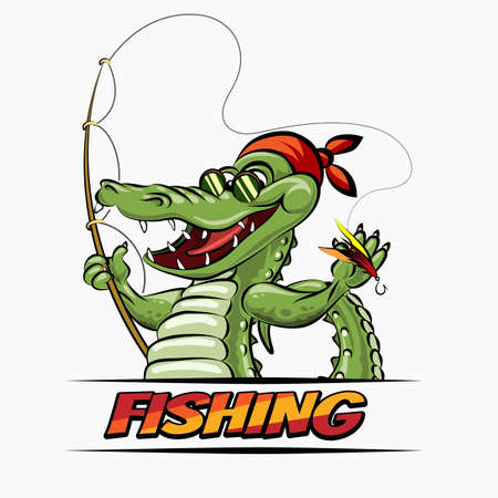 Fishing club or shop emblem. Crocodile The Fisherman with rod. Vector illustration. Stockfoto - 125937685