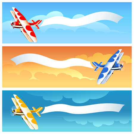 Set of Biplane aircraft with advertisement banner on various sky backgrounds. Vector illustration. Stock Illustratie