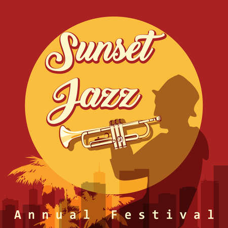 Retro Jazz Festival Poster with trumpeter silhouette on sunset urban background. Vector illustration Stockfoto - 125937687
