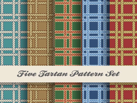 Set of five seamless tartan square scottish patterns. Vector illustration
