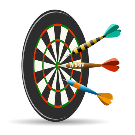 Darts board with three darts. Goal target competition concept. Vector illustration