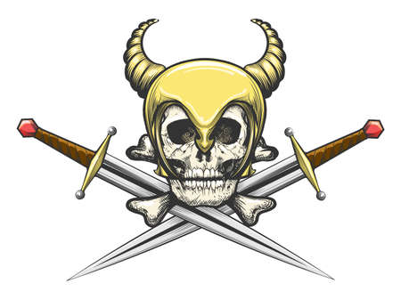 Skull in Horned helmet of Viking with the crossed swords. Vector illustration.