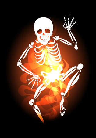 Human Skeleton with waving hand Jumps Out of Hell Fire. Vector illustration