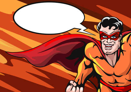 Super Hero in cap with empty speech bubble drawn in comic book style. Vector illustartion. Stock Illustratie