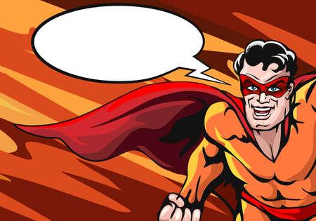 Super Hero in cap with empty speech bubble drawn in comic book style. Vector illustartion. Ilustração