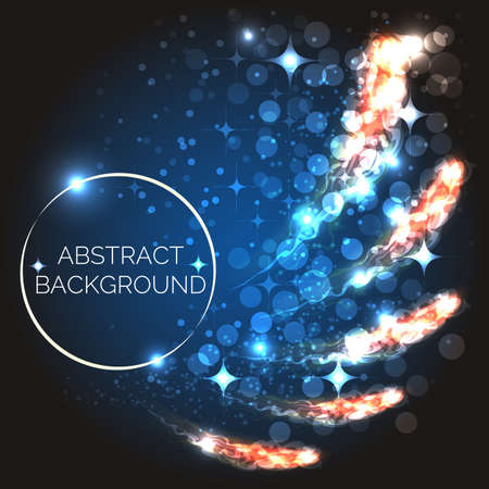 Abstract moving glowing shapes on blue. Background design template. vector illustration.