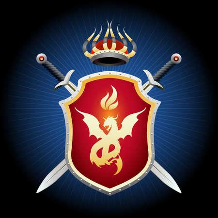 Armoiries avec épées de couronne et bouclier. Bouclier d'or avec emblème de dragon ardent. Illustration vectorielle.