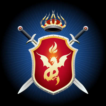 Coat of Arms with crown swords and shield. Golden shield with fiery dragon emblem. Vector illustration. Standard-Bild - 123287161