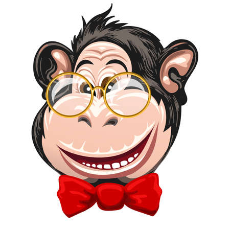 Portret of monkey in glasses and red bow tie. Vector illustration