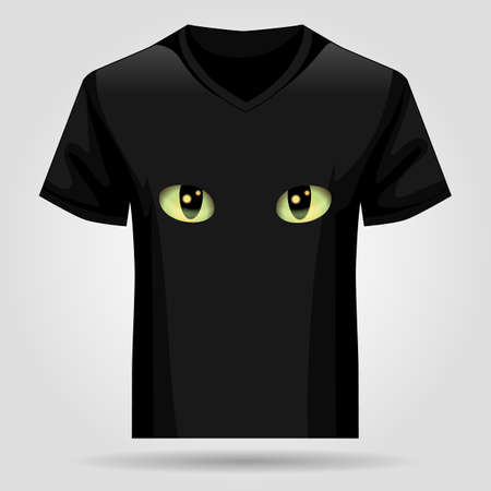 Template black T-shirt with cats eyes. Vector illustration 向量圖像