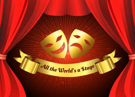 Comedy and tragedy golden masks on theatre stage background with Red Curtain. Vector illustration Çizim