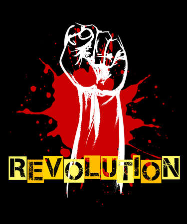 Revolution or resistance Retro poster. Raised fist and blood splat on black. Vector illustration.
