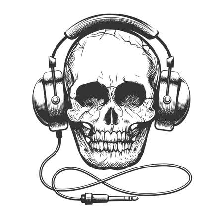 Human Skull with headphones drawn in tatto style. Vector illustration