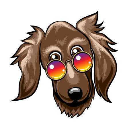 Hand drawn cute funny Dog Muzzle in Rainbow color glasses. Vector Illustration Stock Vector - 134827450