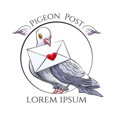 Dove with love message in ia beak isolated on white background. Symbol of vintage Pigeon Post. Vector illustration.