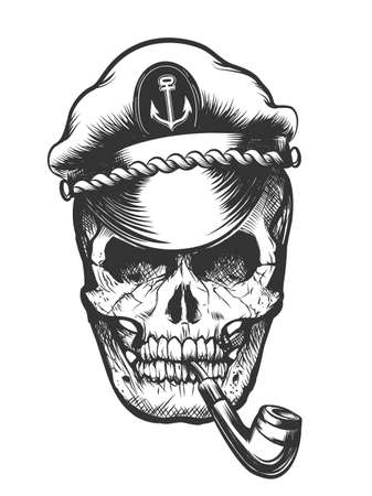Cráneo humano en capitán enarbolado pipa de tabaco de fumar gorra. Ilustración vectorial.