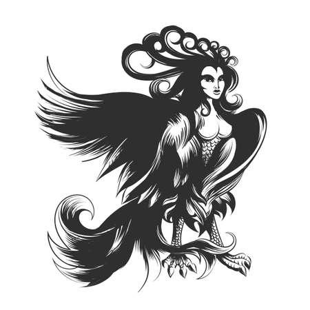 Antique Harpy. Handdrawn mythical Greek Monster. Vector illustration.