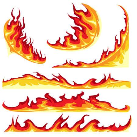 Fire Flame Colorful Element emblem Set. Vector illustration.