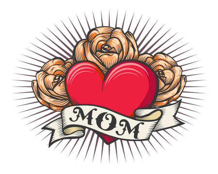 Retro tattoo of Heart with rose flowers and ribbon with wording MOM. Retro tattooector illustration