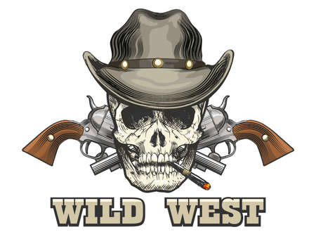 Human skull in Cowboy hat with two revolvers with wording Wild West. Vector illustration.