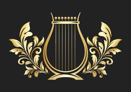 Lyre or cither Golden Emblem. Music or icon. Vector illustration.
