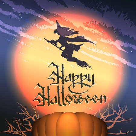 Happy Halloween Background with Pumpkin, Full moon and Flying Witch. Vector Illustration. Stockfoto - 131779485