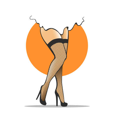 Beautiful legs in fishnet stockings on High Heels. Vector Illustration 向量圖像