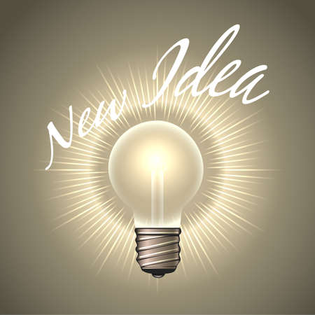 Electrical Light Bulb with wording New Idea. Human Creativity or Inspiration Concept emblem. Vector illustration.