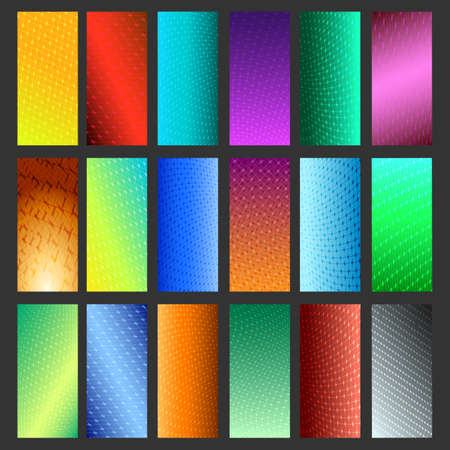 Set of eighteen vibrant simple backdrops isolated on black. Vector illustration