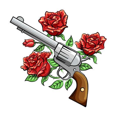 Revolver Gun and rose flowers drawn in tattoo style. Vector illustration. Stock Illustratie