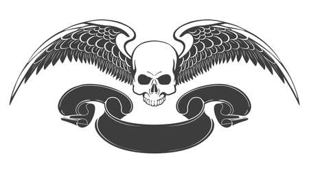 Vintage monochrome logo template with skull and eagle wings with ribbon isolated on white. Vector illustration Illusztráció