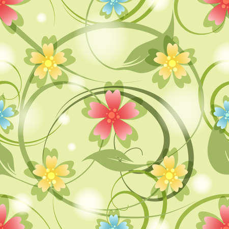 Seamless Pattern with colorful meddow flowers and leaves. Vector illustration. Illusztráció