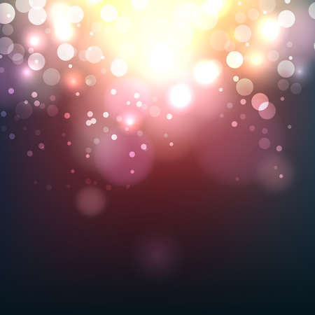 Blurred bokeh light on dark background. Christmas and New Year holidays template. Abstract glitter defocused blinking sparks. Vector illustration.  Illusztráció