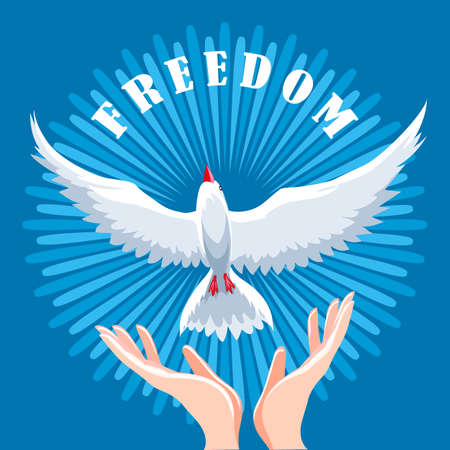 Hands release dove in the air. Freedom concept emblem. Vector illustration. Illustration