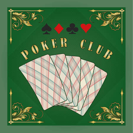 Poker club emblem in retr style. Plaing cards in green background. vector illustration. Stock Illustratie