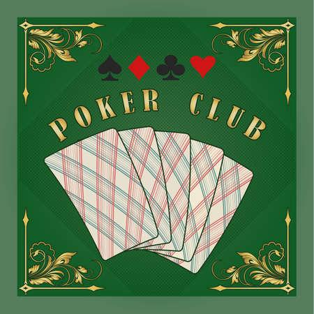 Poker club emblem in retr style. Plaing cards in green background. vector illustration. Illustration