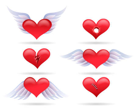 Set of red cartoon hearts. Winged and broken heart collection. Vector illustration.