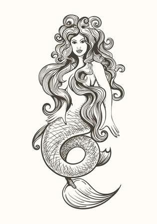 Beauty long haired siren mermaid in vintage tattoo style. Vector illustration. Stock Illustratie