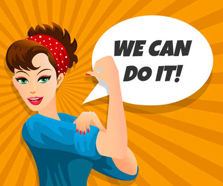 We Can Do It, retro poster. Retro comic pop art style. Vector illustration