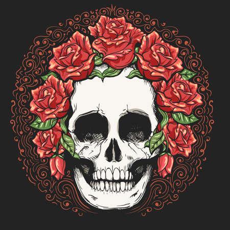 Human skull and rose flower wreath tattoo. Los muertos. Vector illustration.