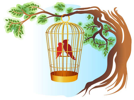 Two Birds in golden cage in watercolor style. Vector illustration. Stock Illustratie
