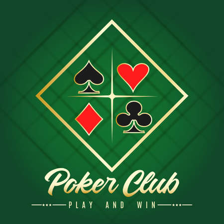 Casino poker Club Banner. Gold text with a playing card suits. Vector illustration