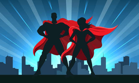 Superhero Couple Male and female superheroes on a skyscraper roof with night city background. Vector illustration.